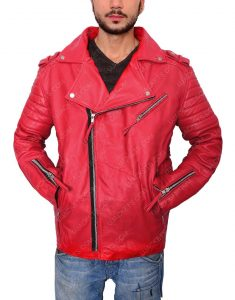 Mens Red Leather Moto Jacket