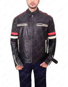Cafe Racer white and red strip jacket