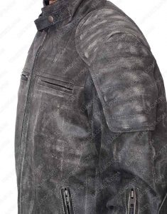 Mens Padded Brown Motorcycle Leather Jacket design