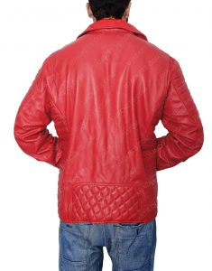 Padded Red Biker leather Jacket
