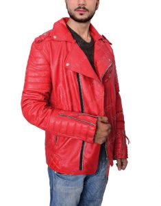 Padded Red Biker Jacket
