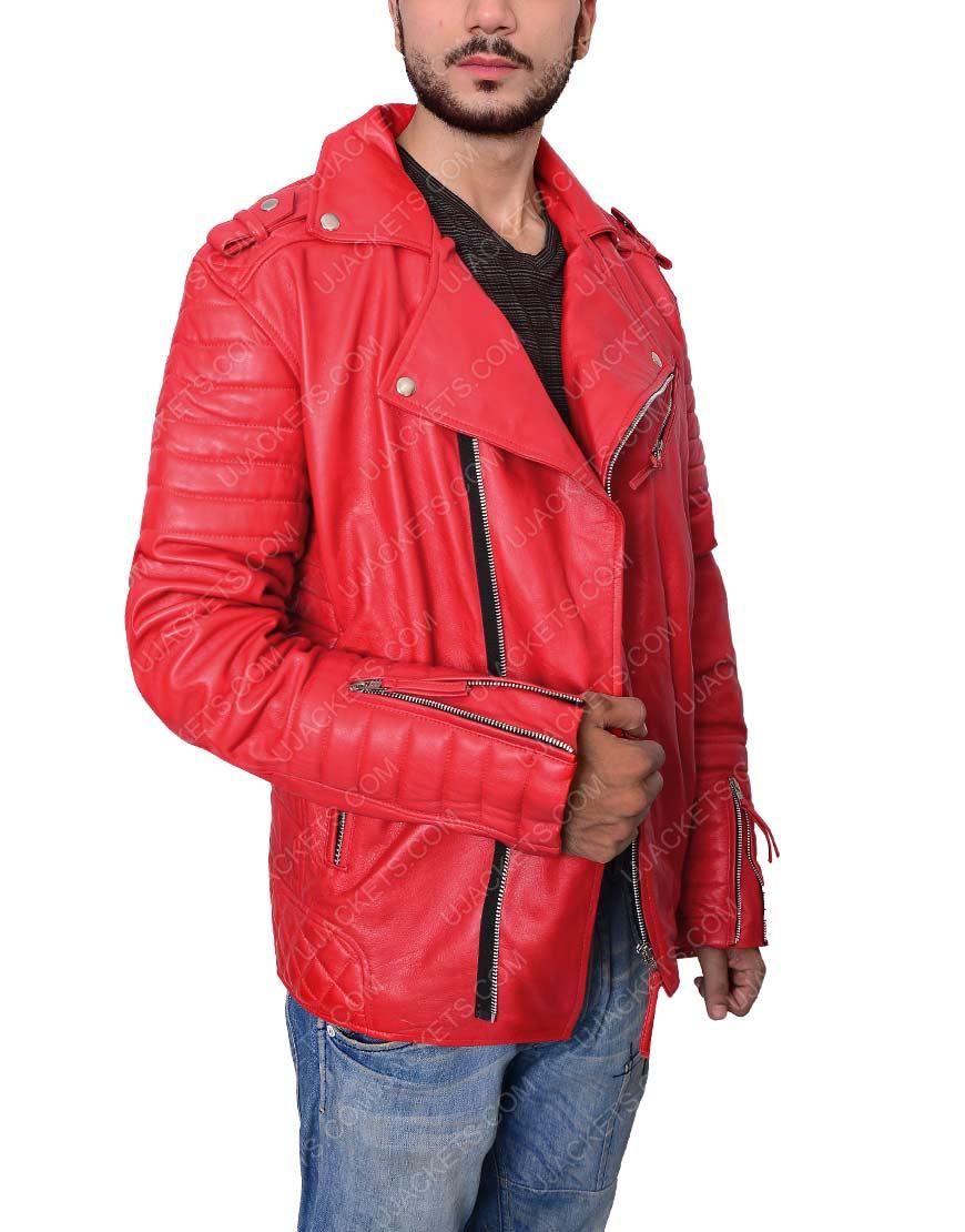 Padded Red Biker Jacket