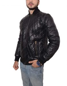 mens quilted black leather jacket