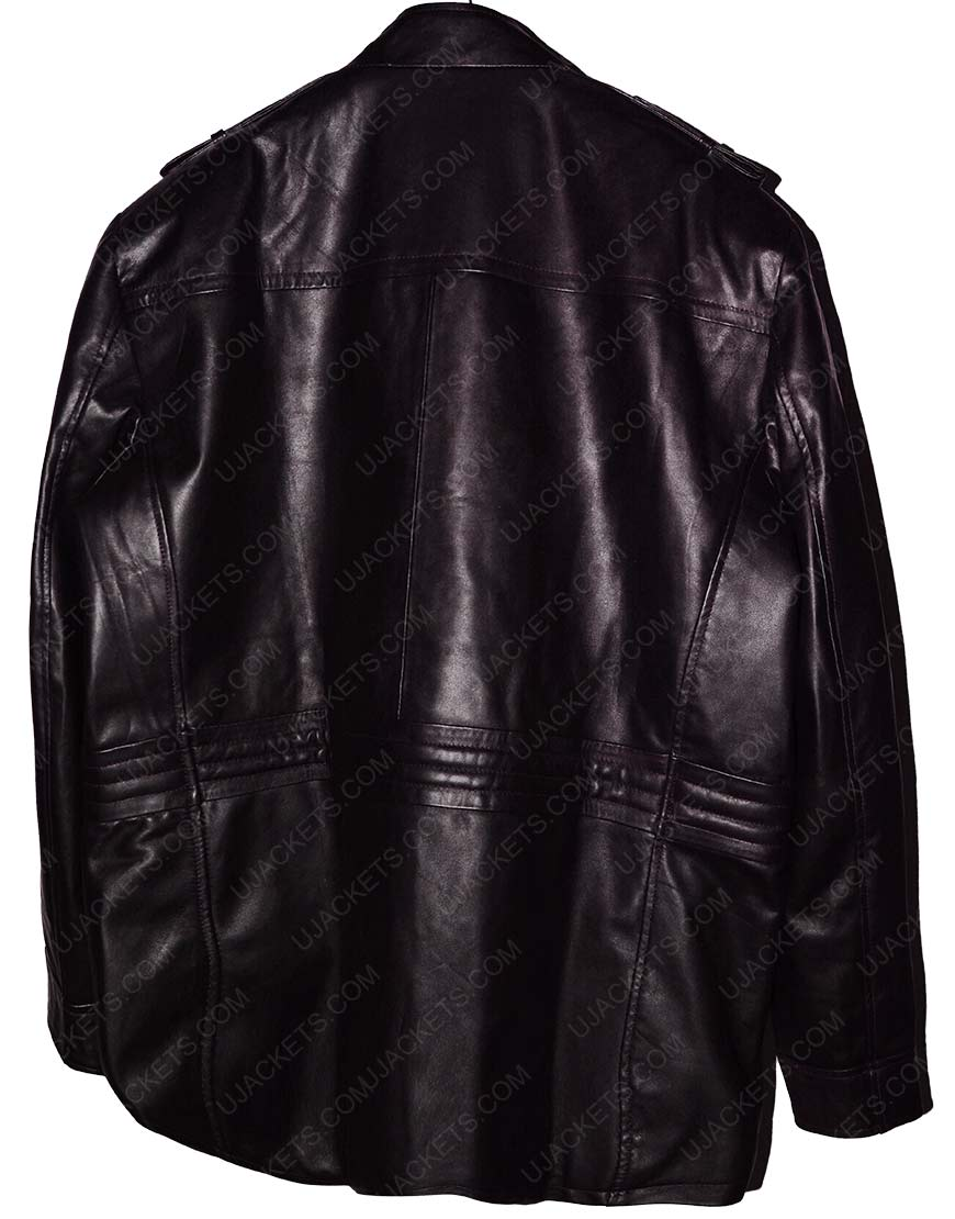 xipper black leather jacket