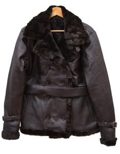 Belted Sheepskin Black Leather Jacket Coat For Women