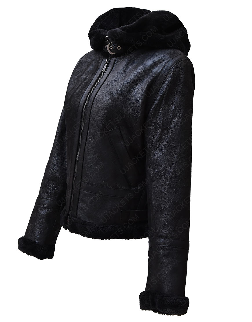 Black Shearling Leather Hooded Jacket