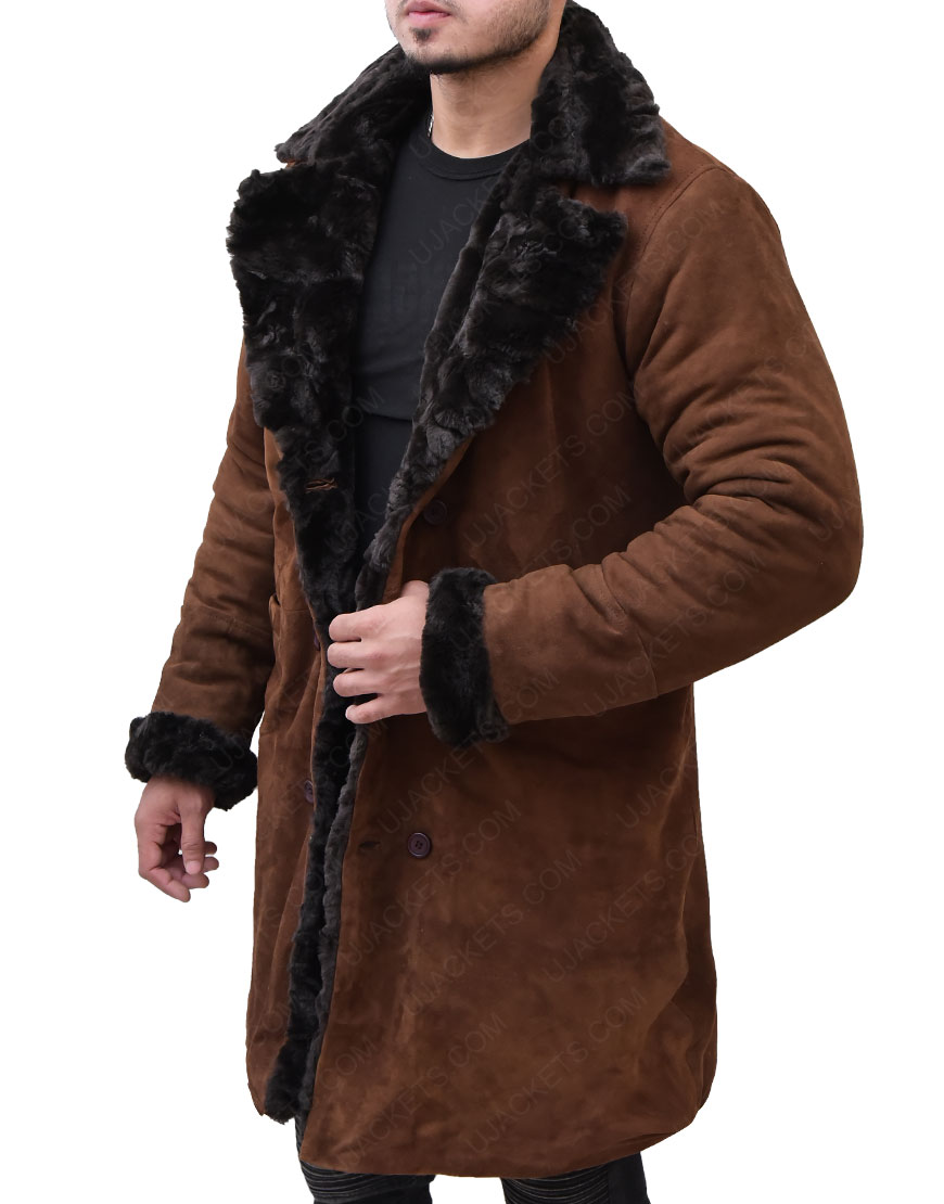 Brad Pitt Mickey Snatch Suede Leather Fur Coat