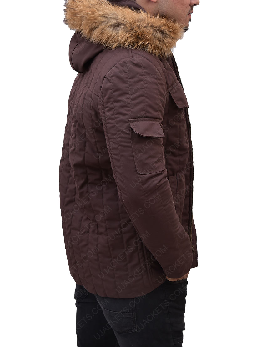 Brown Fur Hooded Jacket