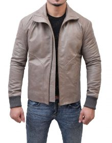 Brown Leather Biker Jacket.