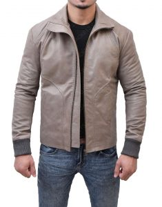 Brown Leather Biker Jacket.