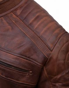 Brown Motorcycle Cafe Racer Leather Jacket
