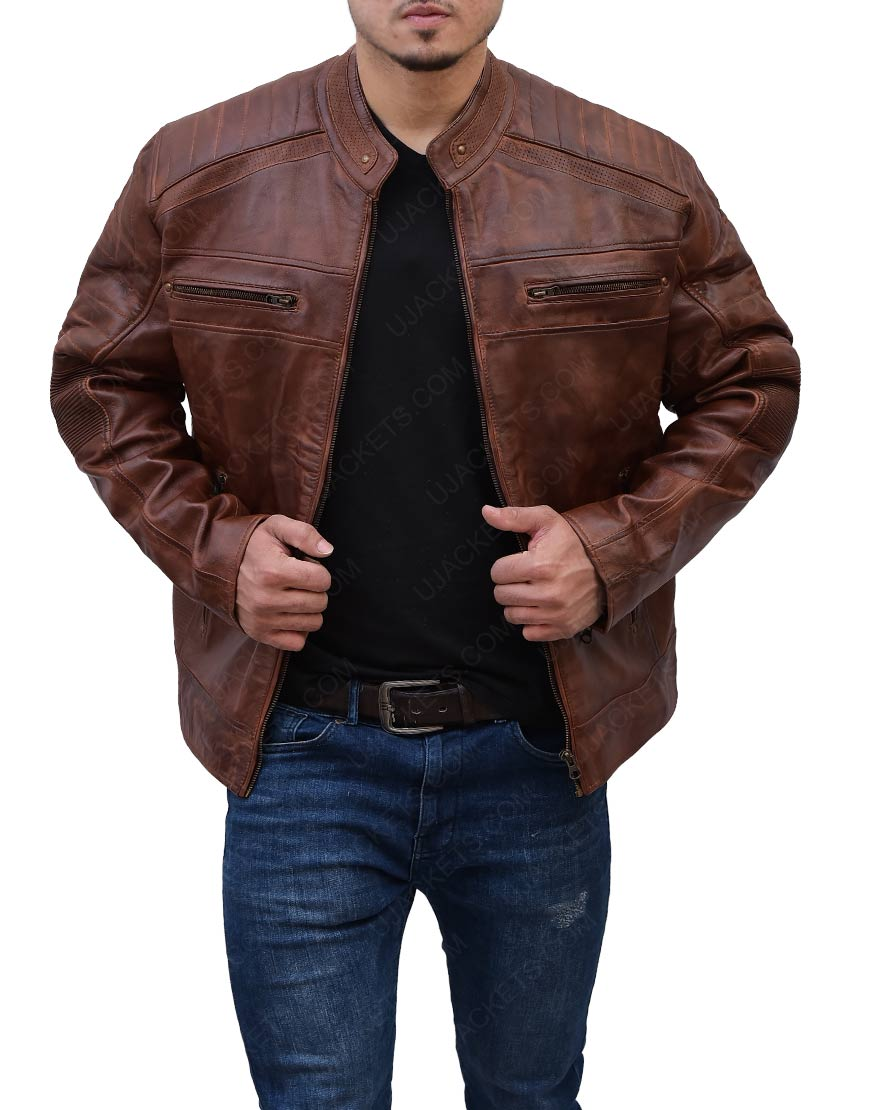 Cafe Racer Motorcyle Leather Jacket