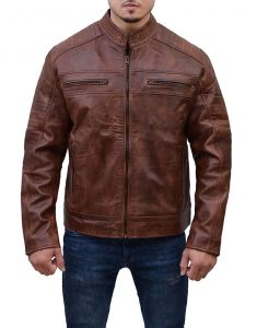 Cafe Racer Union Jack Genuine Antique Brown Motorcycle Leather Jacket