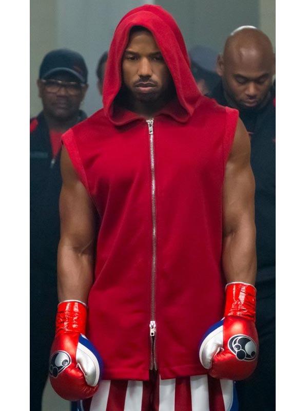 Creed-II-Michael-B.-Jordan-Red-Hooded-Vest