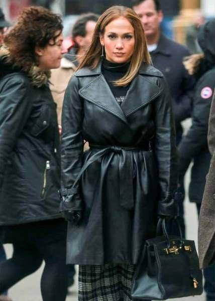 Jennifer Lopez Leather Coat