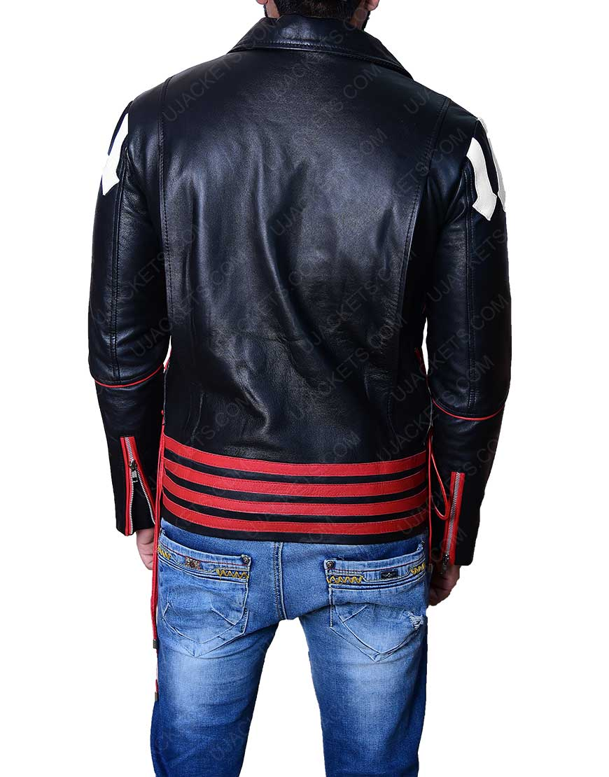 Red And Black Freddie Mercury Leather Jacket.