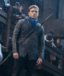 Robin Hood Taron Egerton Quilted Leather Jacket