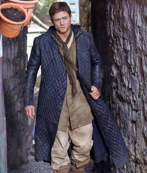 Taron Egerton Robin Hood Black Quilted Trench Hooded Coat