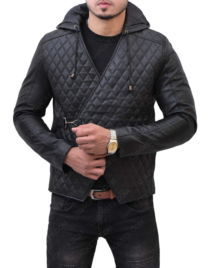 Taron Egerton Robin Hood Quilted Leather Jacket