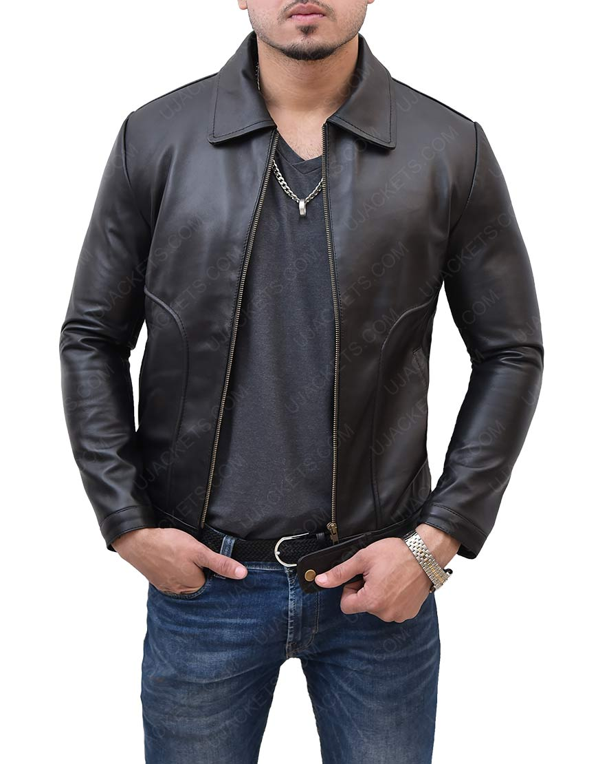 Black James Franco leather Jacket
