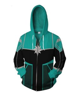 Captain Marvel Leather Hoodie