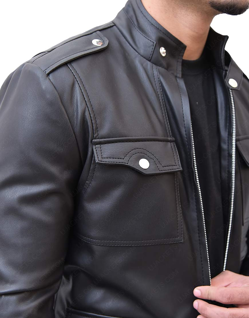 Mens Slim Fit Black Faux Leather Jacket