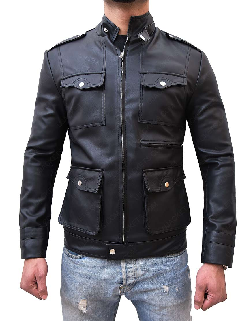 Mens Zip Up Multi Pocket Style Slim Fit Black Faux Leather Jacket