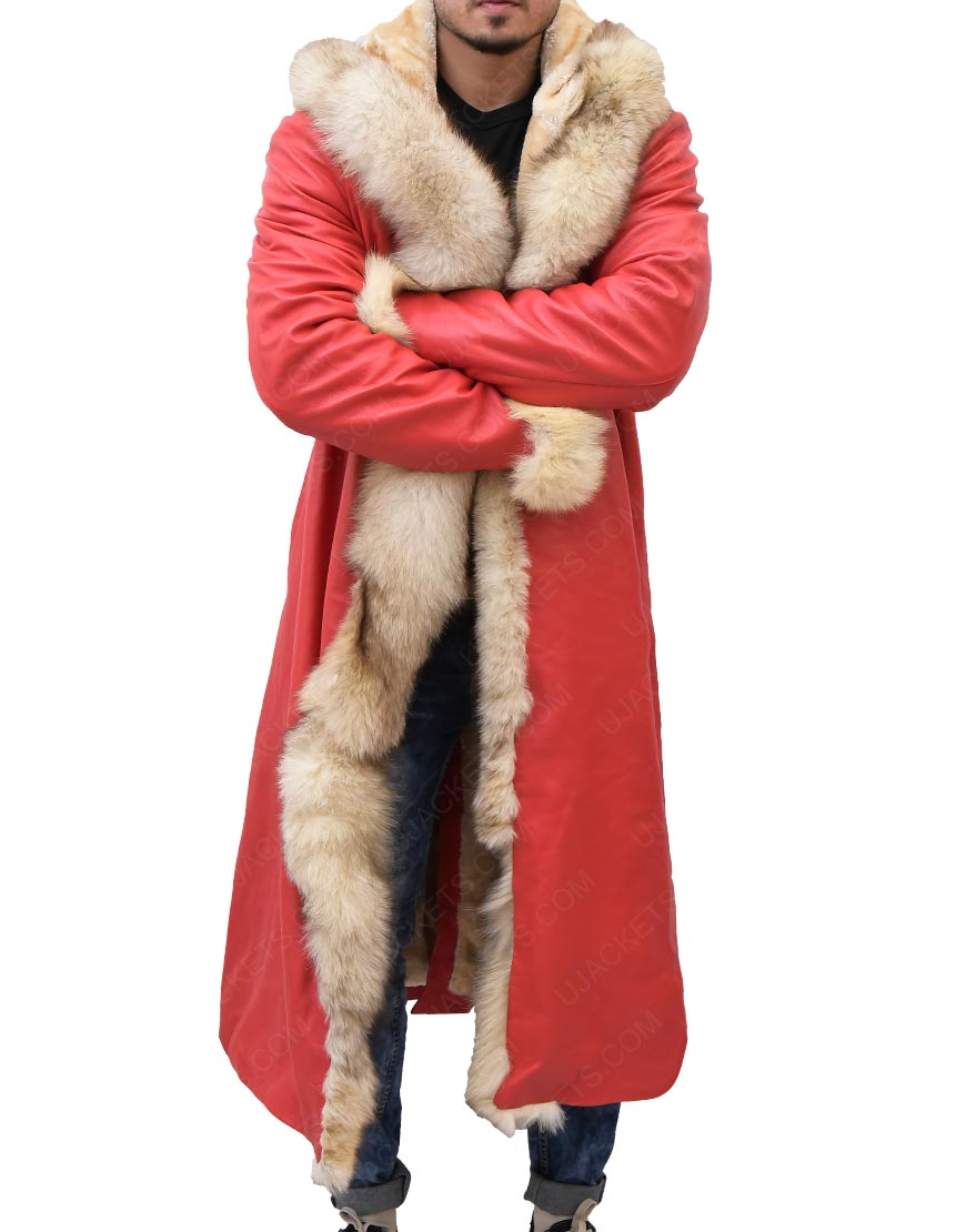 Santa Claus The Christmas Chronicles Kurt Russell Shearling Trench Coat
