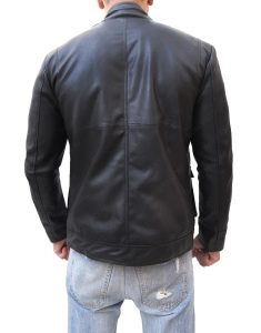 Slim Fit Black Faux Leather Jacket
