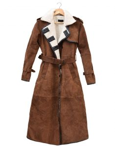 Womens Brown Suede Double Breasted Coat