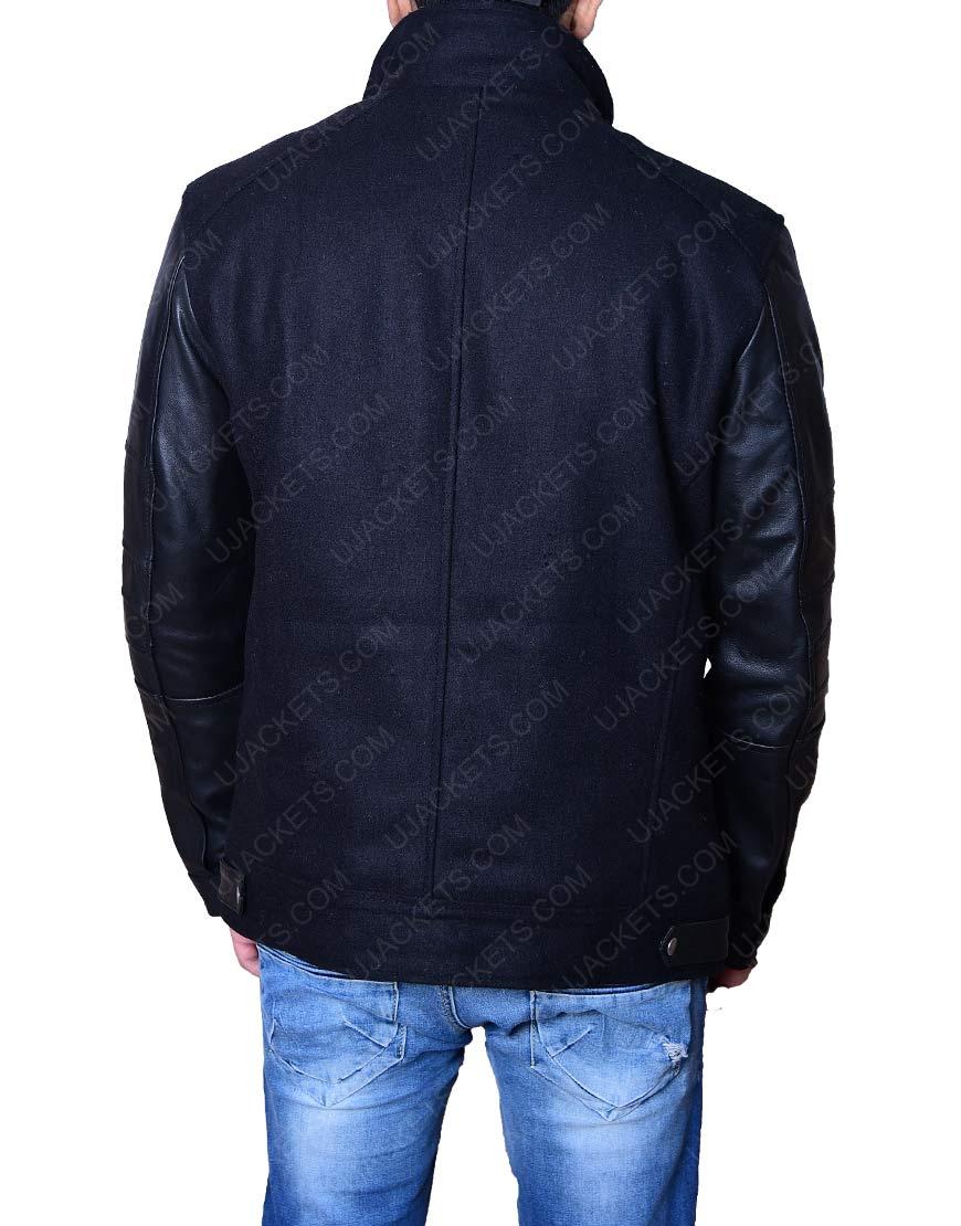 Black Leather Sleeve Jacket