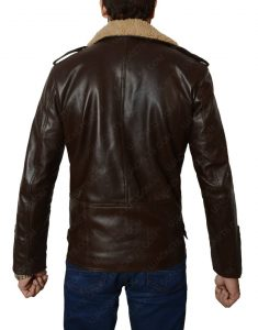 Brown Leather Jacket with Fur Collar