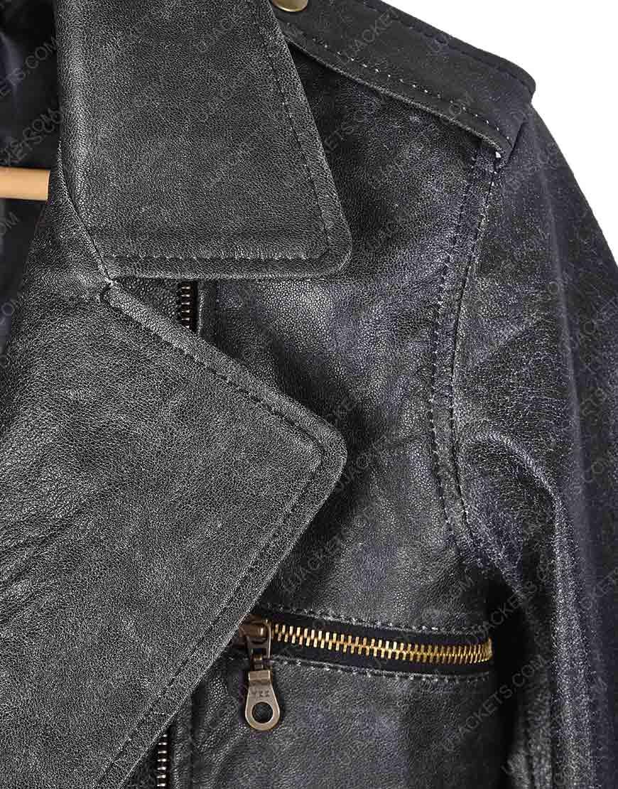 Captain Marvel Brie Larson Black Motorcycle Leather Jacket