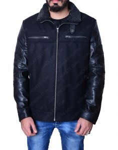 Men's Wool Body Black Leather Sleeve Jacket