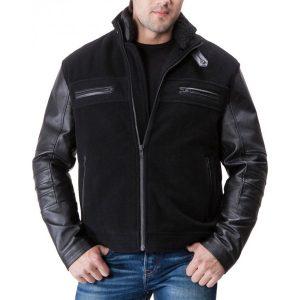Men's Wool Body Black Leather Sleeve Jacket