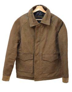 One Wade Corduroy Brown Leather Jacket
