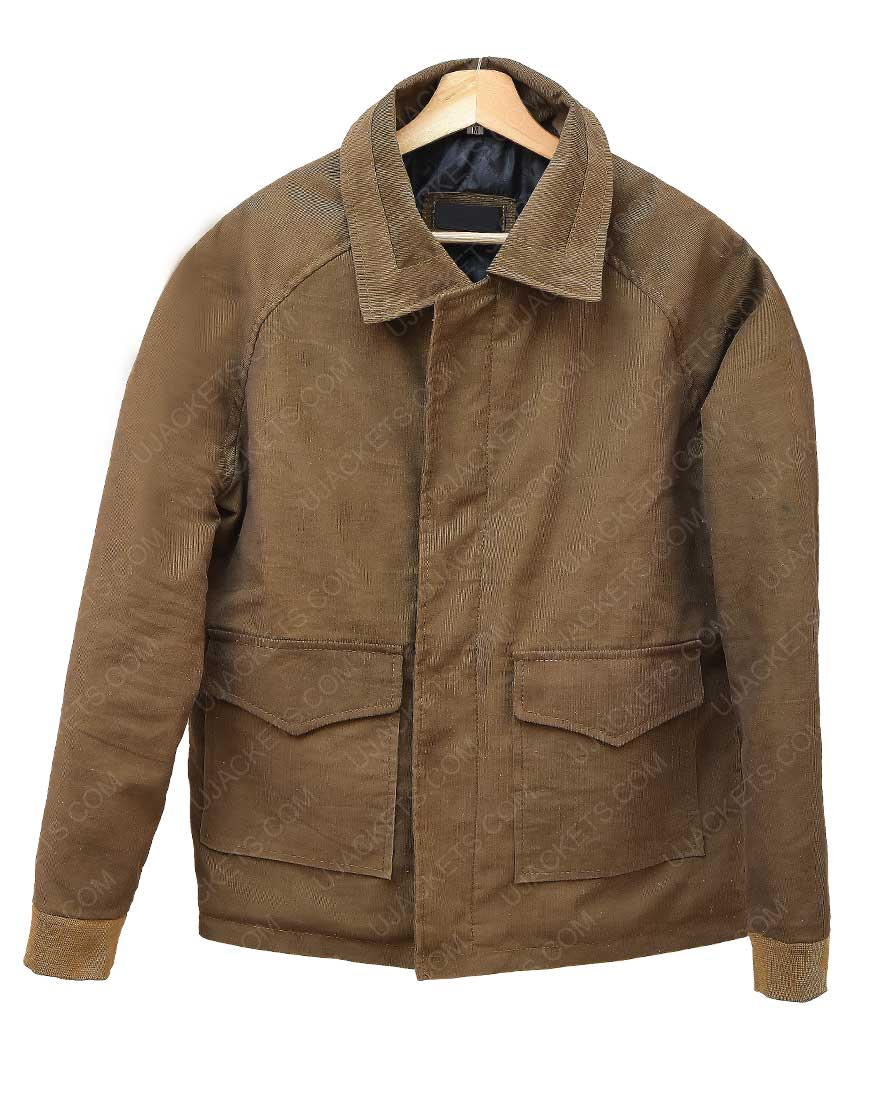 One Wade Corduroy Brown Leather Jacket