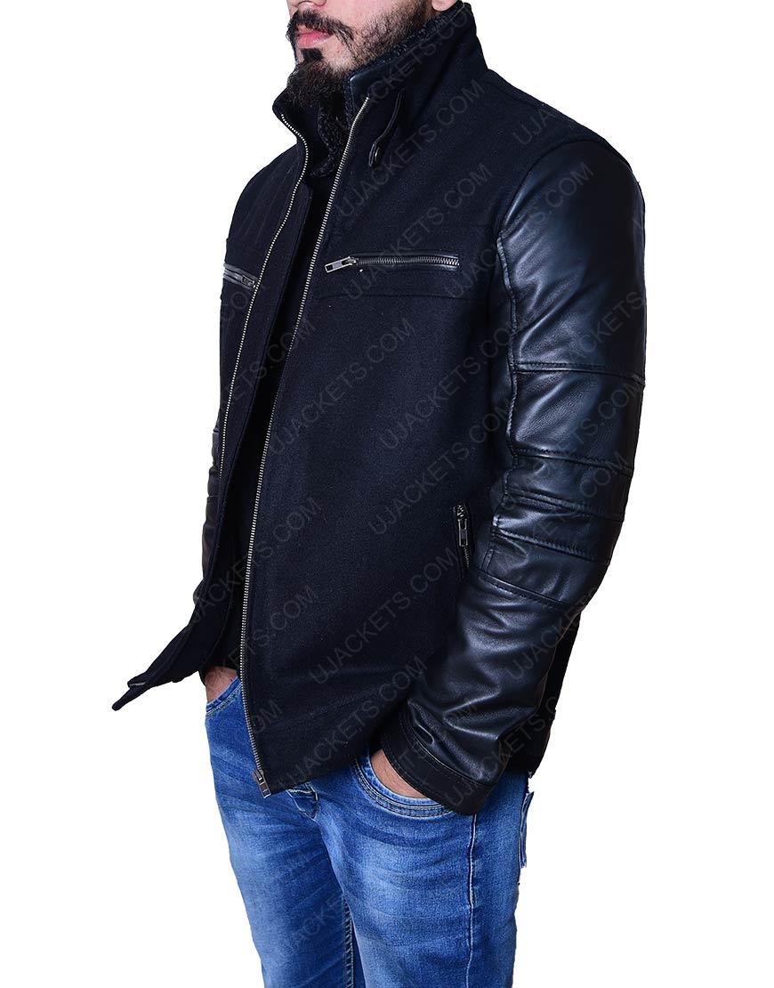 Wool Body Leather Sleeve Jacket