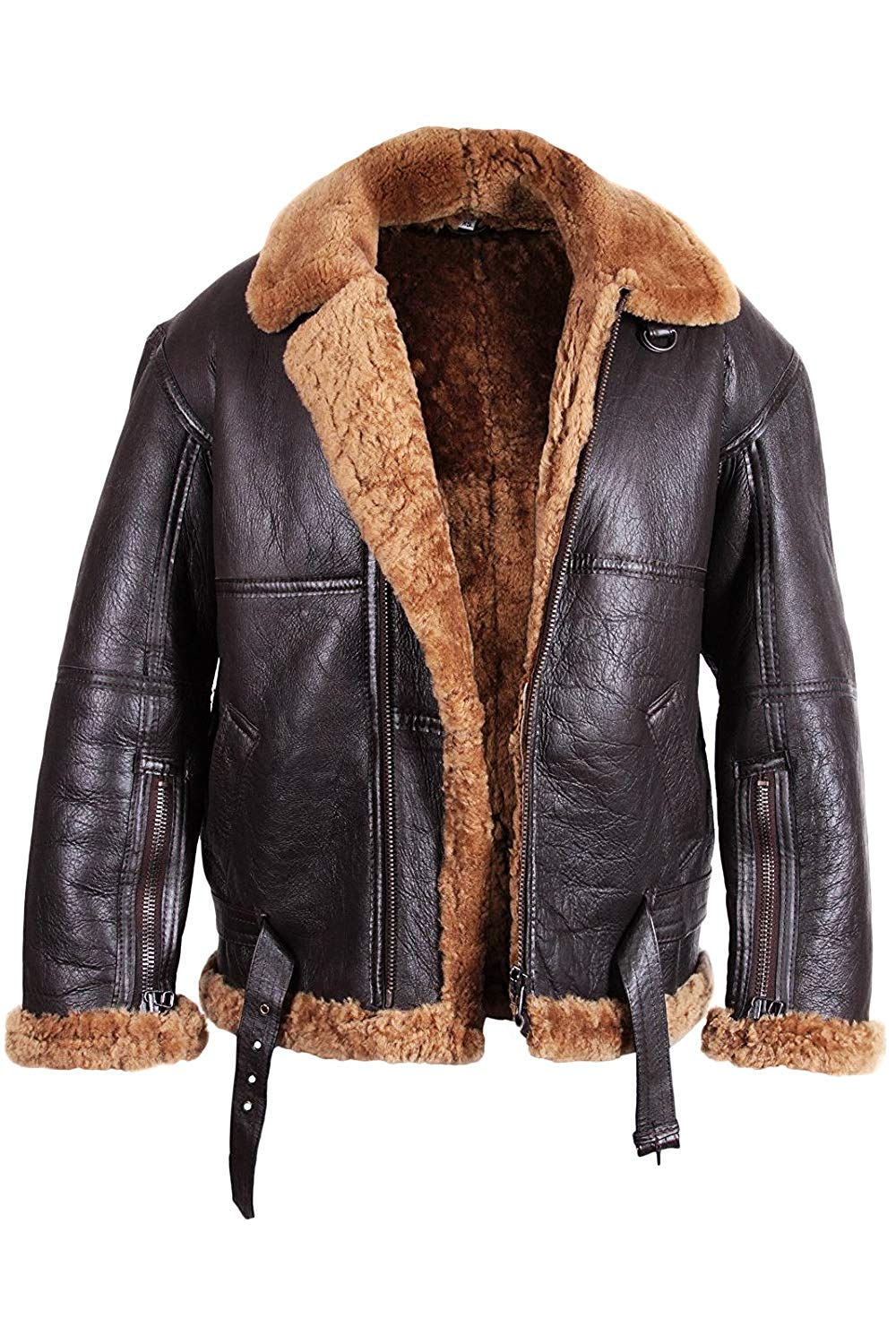 Mens Aviator Flying B3 Shearling Sheepskin Leather Bomber Jacket