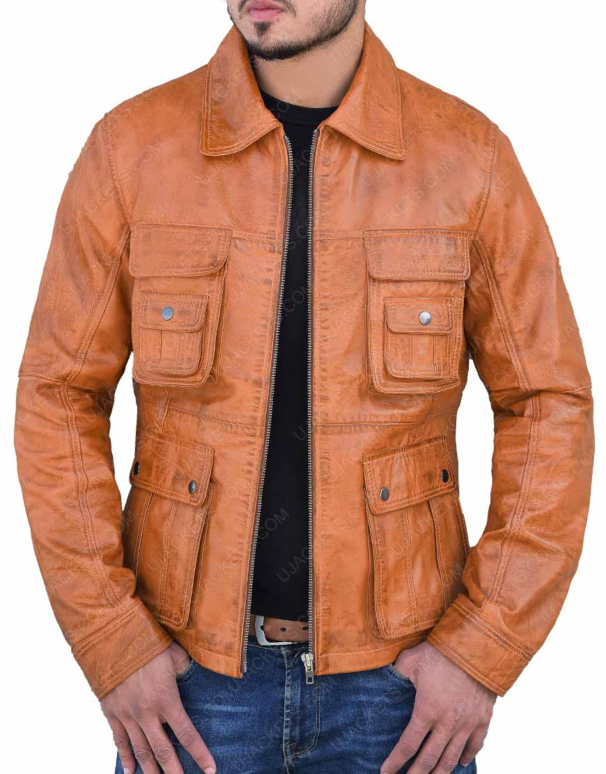 Mens Cafe Racer Brown Bomber Leather Jacket