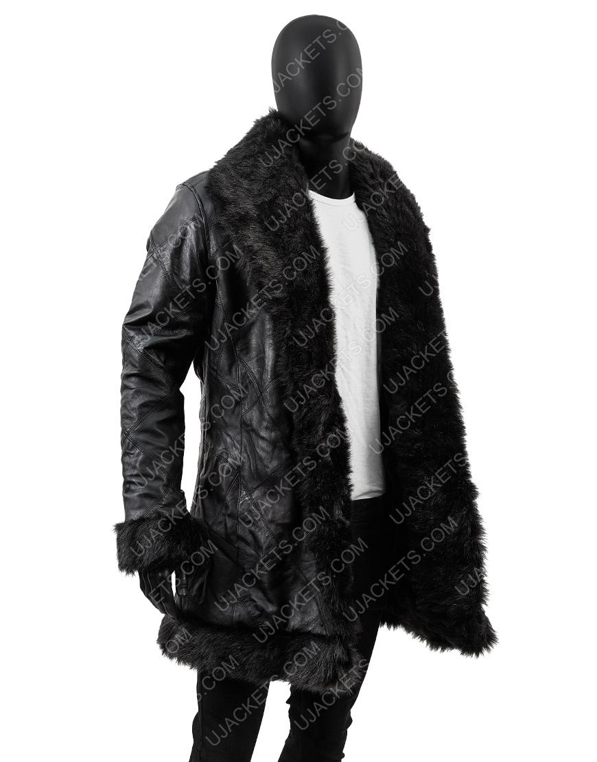 Robert Sheehan The Umbrella Academy Klaus Shearling Trench Coat