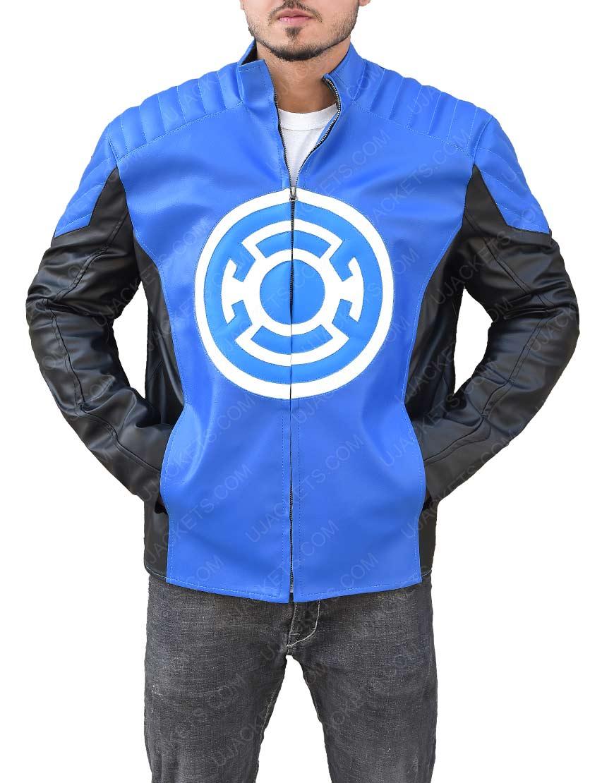 The Flash Barry Allen Blackest Night Blue Lantern Leather Jacket