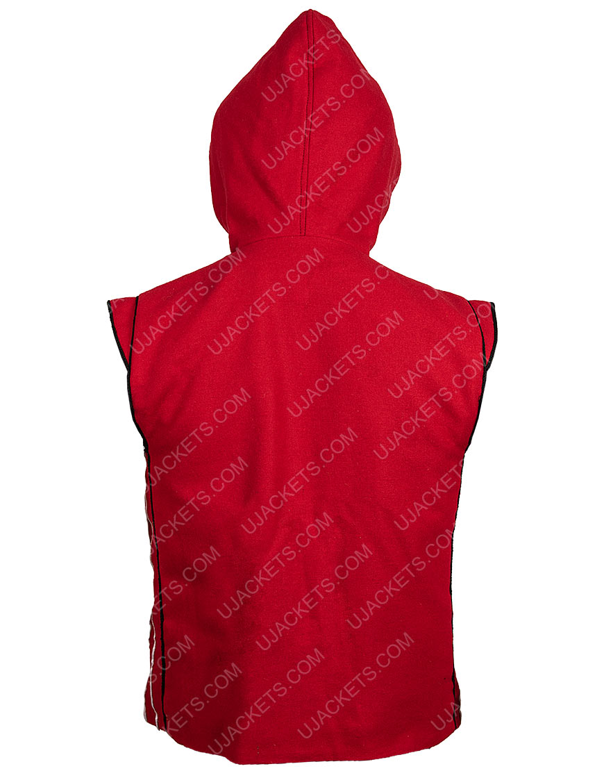 Red Hooded Cotton Vest
