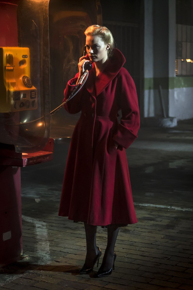 Margot Robbie Annie Terminal Red Wool Trench Coat