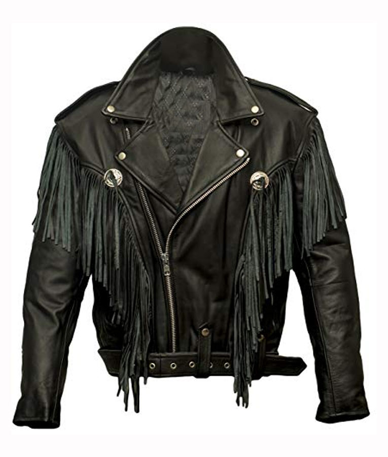Money-Heist-Nairobi-Black-Biker-Jacket-With-Fringe