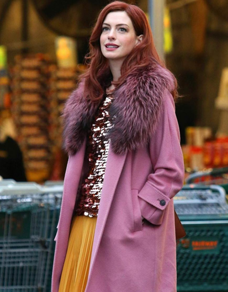 Anne-Hathaway-Modern-Love-Fur-Collar-Pink-Coat