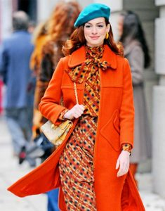 Anne Hathaway Modern Love Orange Coat