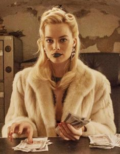 Margot Robbie Faux Fur White Coat