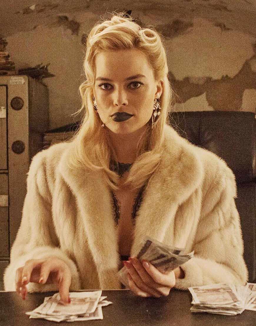 Margot Robbie Faux Fur White Coat
