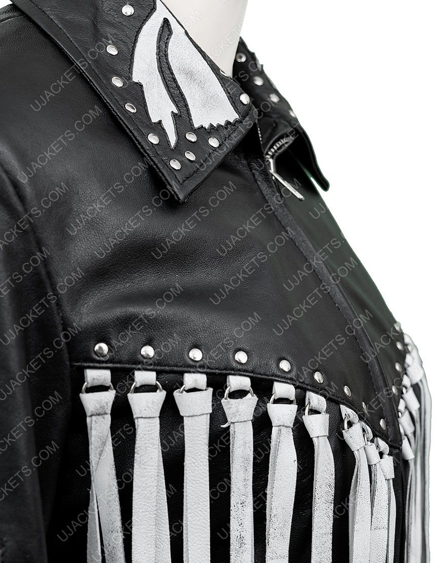Margot Robbie Harley Quinn Birds Of Prey Real Black Leather Fringe Jacket